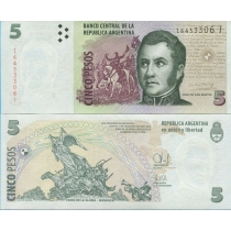 Аргентина 5 песо 2014 год.