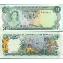 """Багамские острова 1 доллар 1974 год. В конверте """"Banknotes of all Nations"""" с маркой."""