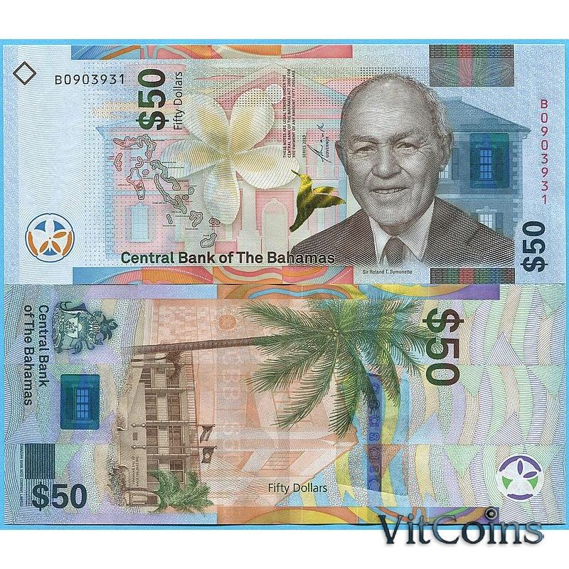 Банкнота Багамские острова 50 долларов 2019 год.