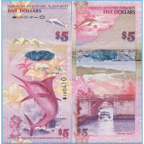 Бермудские острова 5 долларов 2009 год.
