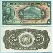 Боливия 5 боливиано 1928 год. Pick 120а.7-1