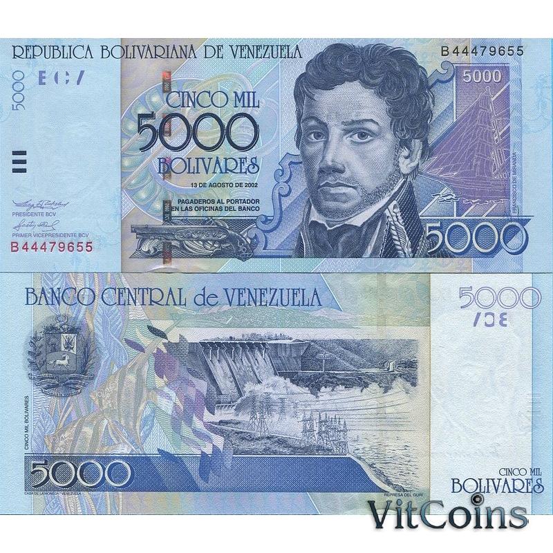 Банкнота Венесуэлы 5000 боливаров 2002 г.