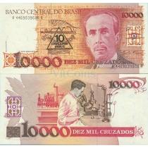 Бразилия 10 новых крузадо 1989 г. на 10000 крузадо 1988 г.