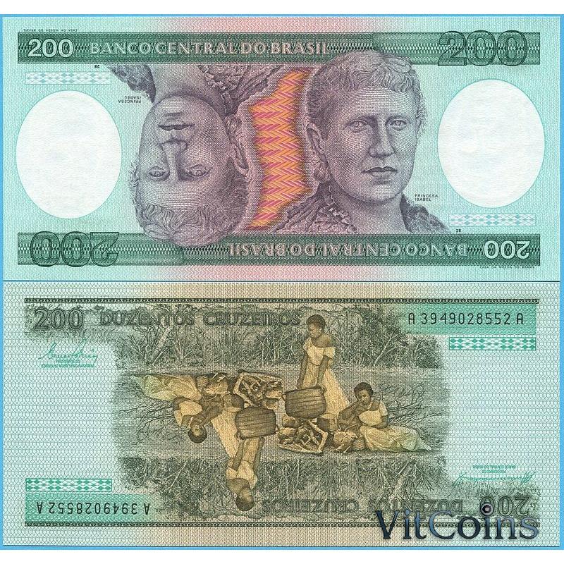 Банкнота Бразилия 200 крузейро 1984 год.