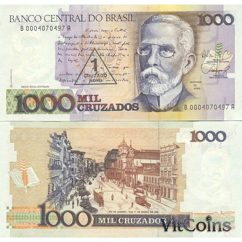 Банкнота Бразилии 1 новый крузадо 1989 г. на 1000 крузадо 1987 г.