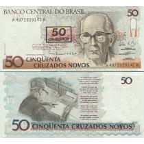 Бразилия 50 крузейро 1990 г. на 50 новых крузадо 1989-1990 г.