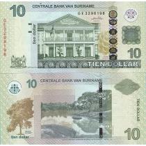 Суринам 10 долларов 2010 год.