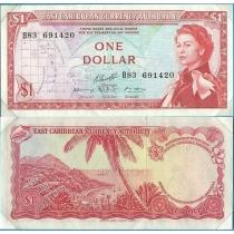 """Восточные Карибы 1 доллар 1965 год. В конверте """"Banknotes of all Nations"""" с маркой Гренада."""