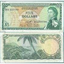 """Восточные Карибы 5 долларов 1965 год. В конверте """"Banknotes of all Nations"""" с маркой Невис."""