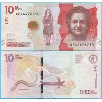 Колумбия 10000 песо 2017 год.