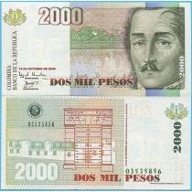 Колумбия 2000 песо 2000 год.
