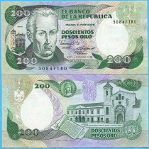 Колумбия 200 песо 1985 год.