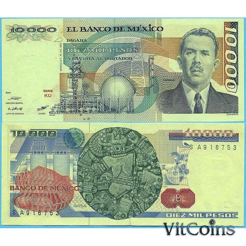 Банкнота Мексика 10000 песо 1985 год.