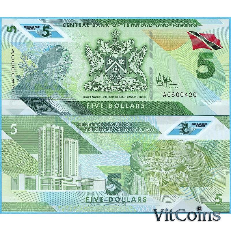 Банкнота Тринидад и Тобаго 5 долларов 2020 год.
