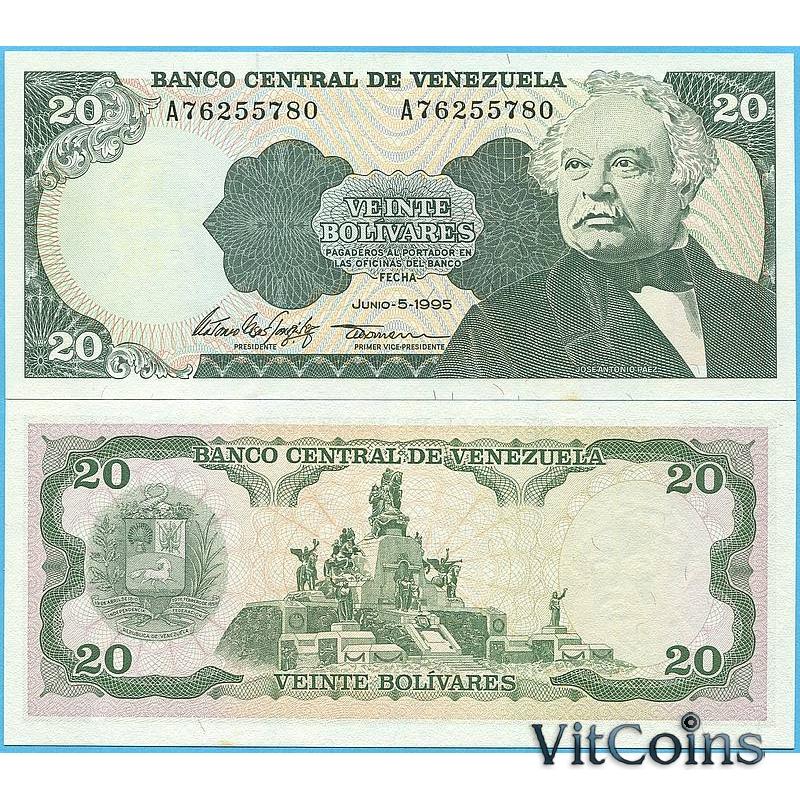 Банкнота Венесуэла 20 боливаров 1995 год.