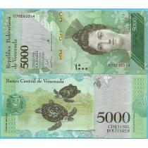 Венесуэла 5000 боливар 2017 год.