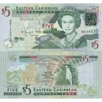 Восточные Карибы 5 долларов 2008 г.