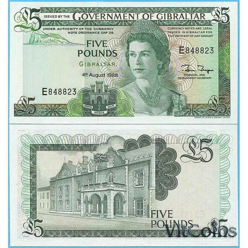 Банкнота Гибралтара 5 фунтов 1988 год.