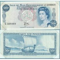 "Остров Мэн 50 пенсов 1979 год. В конверте ""Banknotes of all Nations"" с маркой."