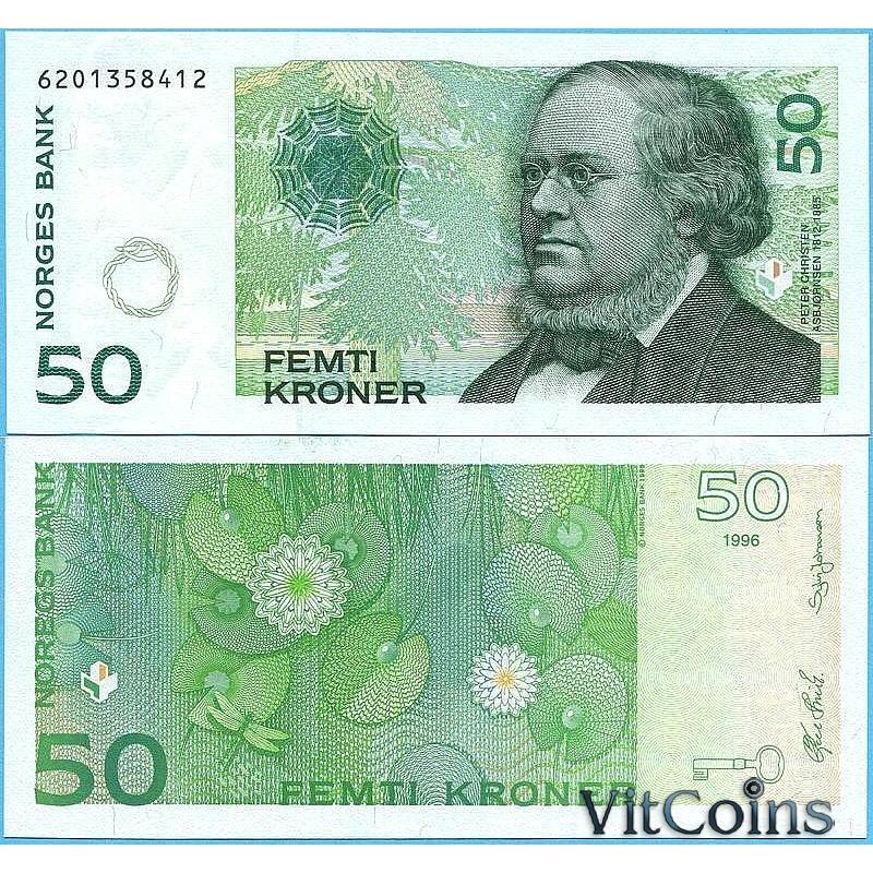 Банкнота  Норвегия 50 крон 1996 год.