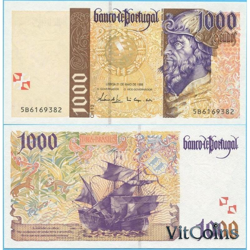 Банкнота Португалия  1000 эскудо 1998 год.