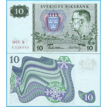 Швеция 10 крон 1975 год.