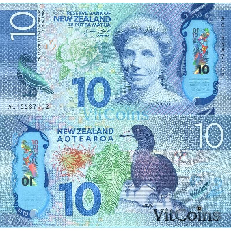 Банкнота Новая Зеландия 10 долларов 2015 год.