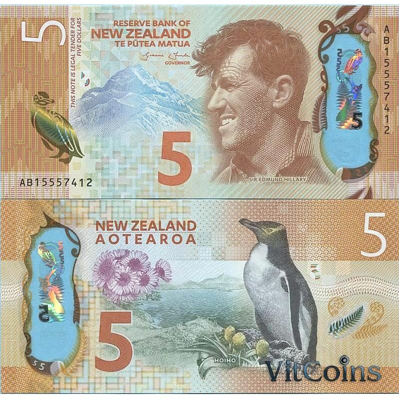 Банкнота Новая Зеландия 5 долларов 2015 год.