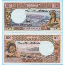 Новые Гебриды 100 франков 1977 год.