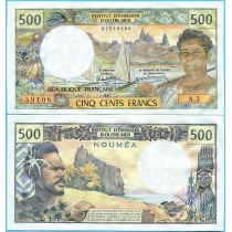 Новая Каледония 500 франков 1981 год.