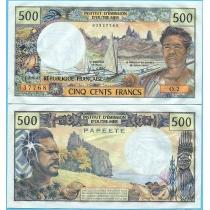 Таити 500 франков 1977 год.