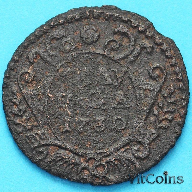 Монета Россия полушка (1/4 копейки) 1730 год.