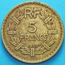 Алжир 5 франков 1939 год. Франция для Алжира.