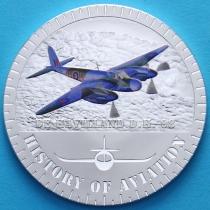 Бурунди 5000 франков 2015 год. Самолет Москито. Серебро.
