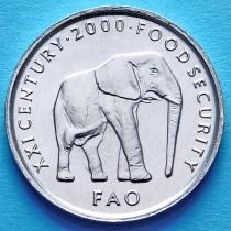 Сомали 5 шиллингов 2000 год. Слон. ФАО.