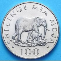 Танзания 100 шиллингов 1986 г. Слоны