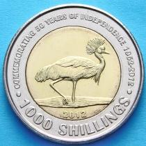Уганда 1000 шиллингов  2012 год. 50 лет независимости. Цапля.