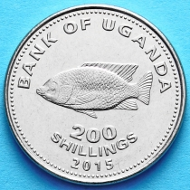 Уганда 200 шиллингов 2015 год. Цихлида.