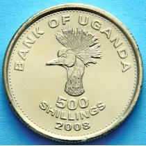 Уганда 500 шиллингов 2008 год. Журавль.