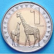 Южный Судан 1 фунт 2015 год. Нубийский жираф.