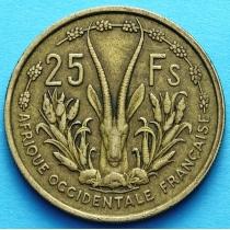 Западная Африка 25 франков 1956 год. XF