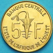 Западная Африка 5 франков 2008 год.