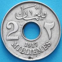 Египет 2 миллима 1917 год.  Н