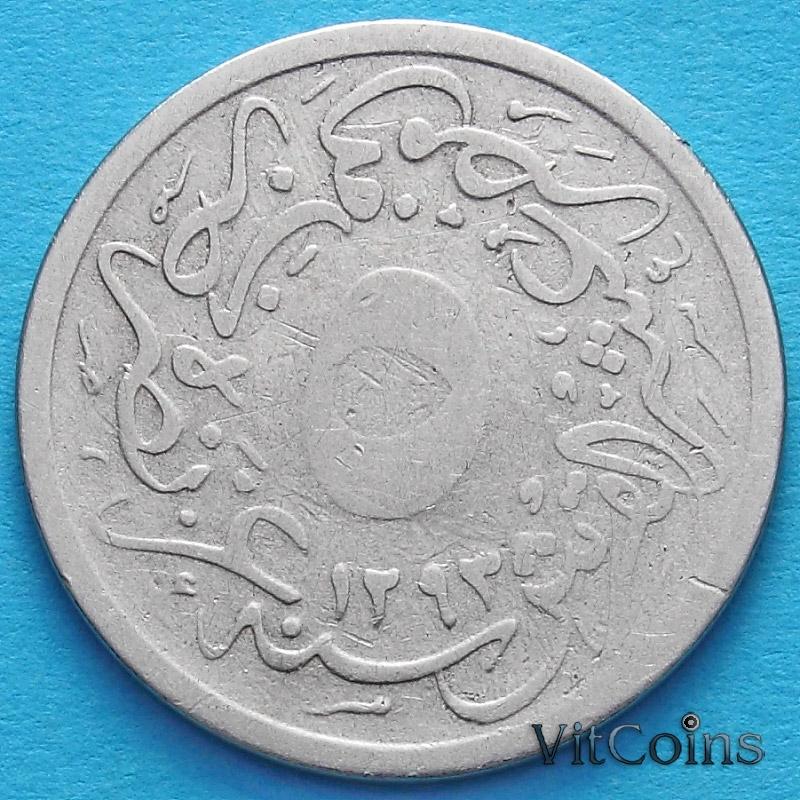 Монета Египта 5/10 кирш 1895 год.