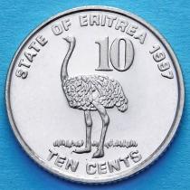 Эритрея 10 центов 1997 год. Страус.