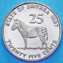 Эритрея 25 центов 1997 год. Зебра
