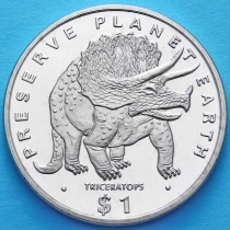 Эритрея 1 доллар 1993 год. Трицератопс