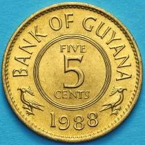 Гайана 5 центов 1988 год.