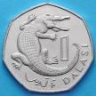 Монета Гамбии 1 даласи 1987 год. Узкорылый крокодил.