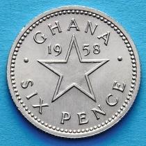 Гана 6 пенсов 1958 год.
